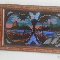 Antigüedades: BANDEJA DE MADERA Y ALAS DE MARIPOSA, BRASIL,ORIGINAL AÑOS 50. Lote 105983283