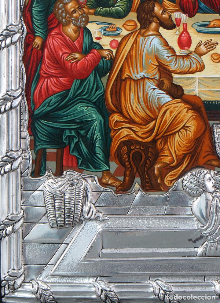 Antigüedades: Icono tradicional estilo bizantino Última Cena en plata 950 siglo XX - Foto 3 - 105985403