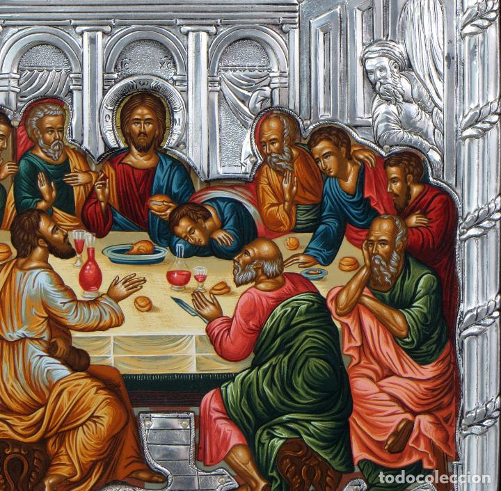 Antigüedades: Icono tradicional estilo bizantino Última Cena en plata 950 siglo XX - Foto 4 - 105985403