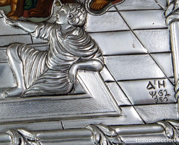 Antigüedades: Icono tradicional estilo bizantino Última Cena en plata 950 siglo XX - Foto 5 - 105985403
