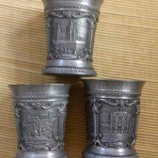 Antigüedades: LOTE 3 VASITOS DE ZINN, ESTAÑO, PEWTER. DE LA FAMOSA FIRMA WMF. JAHRESSTAMPER. EDICIÓN LIMITADA. Lote 105992883