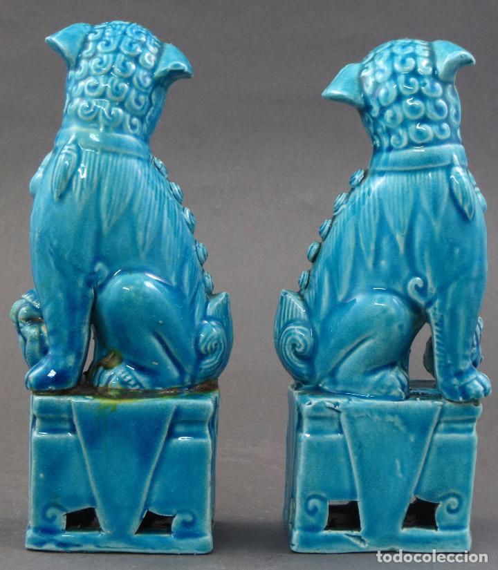 Antigüedades: Pareja Furias Foo cerámica esmaltada azul China S XX - Foto 4 - 175027738