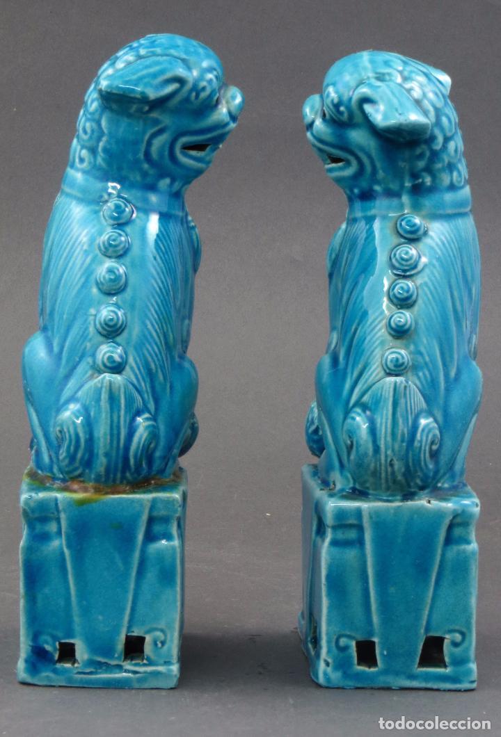Antigüedades: Pareja Furias Foo cerámica esmaltada azul China S XX - Foto 5 - 175027738