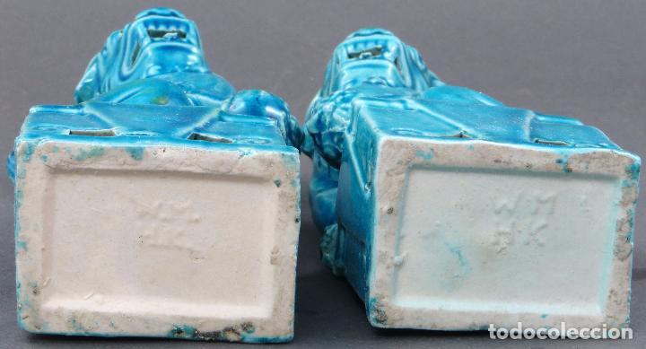 Antigüedades: Pareja Furias Foo cerámica esmaltada azul China S XX - Foto 6 - 175027738