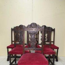 Antigüedades: JUEGO DE 6 SILLAS ANTIGUAS ESTILO RENACIMIENTO ESPAÑOL . Lote 106009555