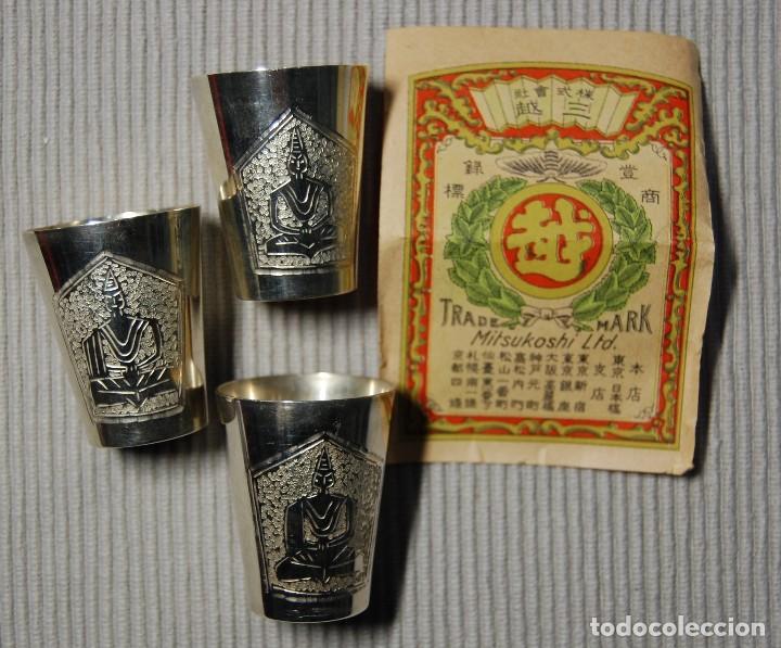 Antigüedades: BELLISIMA CAJITA CON 3 VASITOS CEREMONIALES JAPONESES DE PLATA PURA.AÑOS 1900-1930.ESPECTACULARES - Foto 3 - 106009567