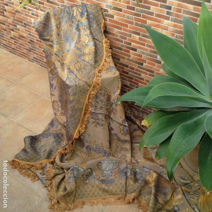 Antigüedades: Colcha antigua de seda - Foto 6 - 106025071
