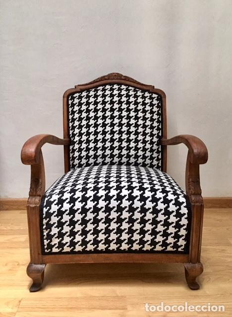 Sillon restaurado principios xx tapizado en comprar for Sillones antiguos tapizados