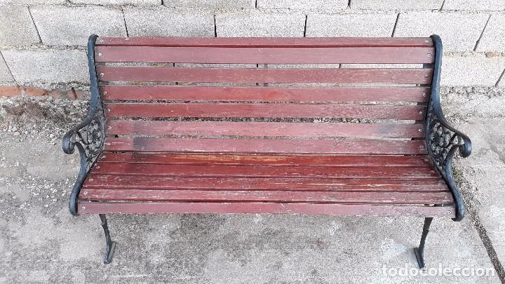 Antigüedades: Banco antiguo de madera y hierro, sofa o banco de jardín estilo francés, retro vintage - Foto 9 - 106072359