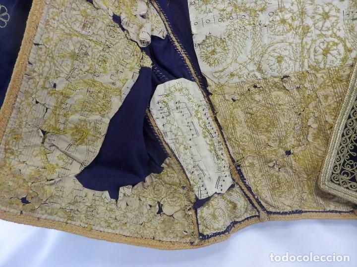 Antigüedades: t1 Maravillosa chaqueta corta, torera goyesca hilos de oro en vistas y terciopelo. fines XVIII - Foto 7 - 106176259