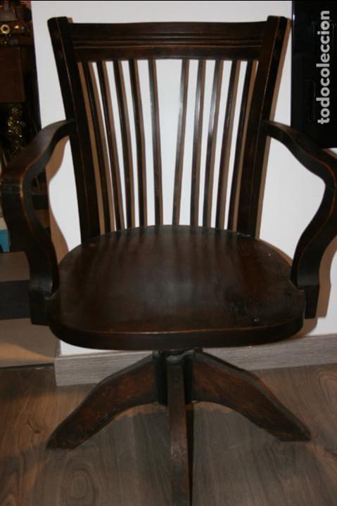 Antigua silla sillon de oficina madera y mecani - Vendido en Venta ...