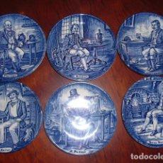 Antigüedades: ENOCH WEDGWOOD,ENGLAND. SEIS PLATITOS PORCELANA,10,5 CMS. CON DIFERENTES OFICIOS COPA EN MANO. Lote 106548047