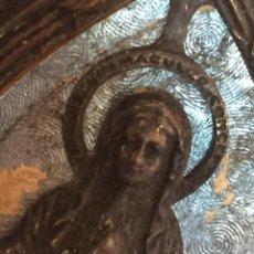 Antigüedades: ANTIQUÍSIMO PORTAPAZ RELIEVE RELIGIOSO DE LA VIRGEN DE LOURDES. Lote 106583784