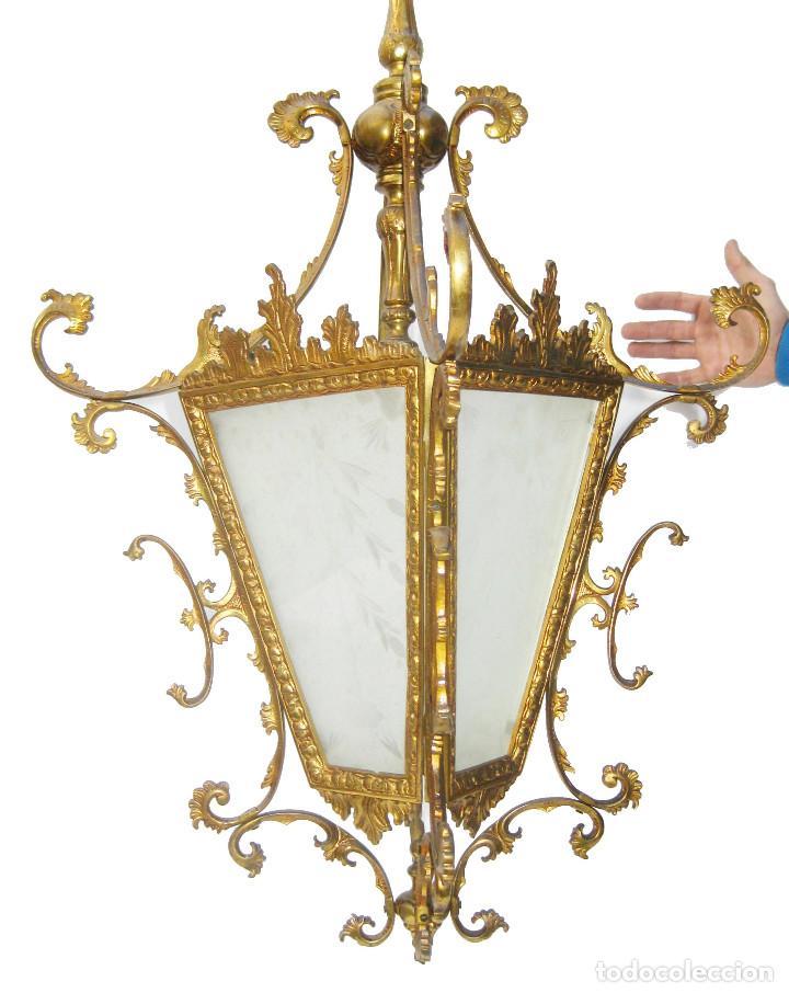 GRAN LAMPARA ANTIGUA CIRCA 1920 FAROL ANTIGUO EN BRONCE DORADO Y CRISTAL TALLADO RESTAURADO (Antigüedades - Iluminación - Faroles Antiguos)
