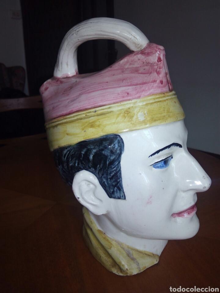 GRAN BOTIJO CON FORMA DE CABEZA, MANISES. MUY RARO (Antigüedades - Porcelanas y Cerámicas - Manises)