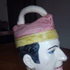 Antigüedades: GRAN BOTIJO CON FORMA DE CABEZA, MANISES. MUY RARO. Lote 106629003