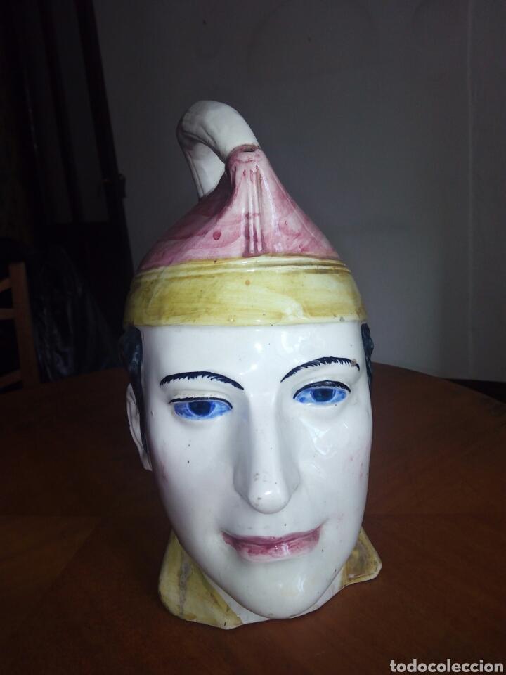 Antigüedades: Gran botijo con forma de cabeza, Manises. Muy raro - Foto 2 - 106629003