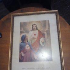 Antigüedades: LAMINA ENMARCADA DULCE CORAZÓN DE JESÚS Y DE MARÍA.. Lote 106639318