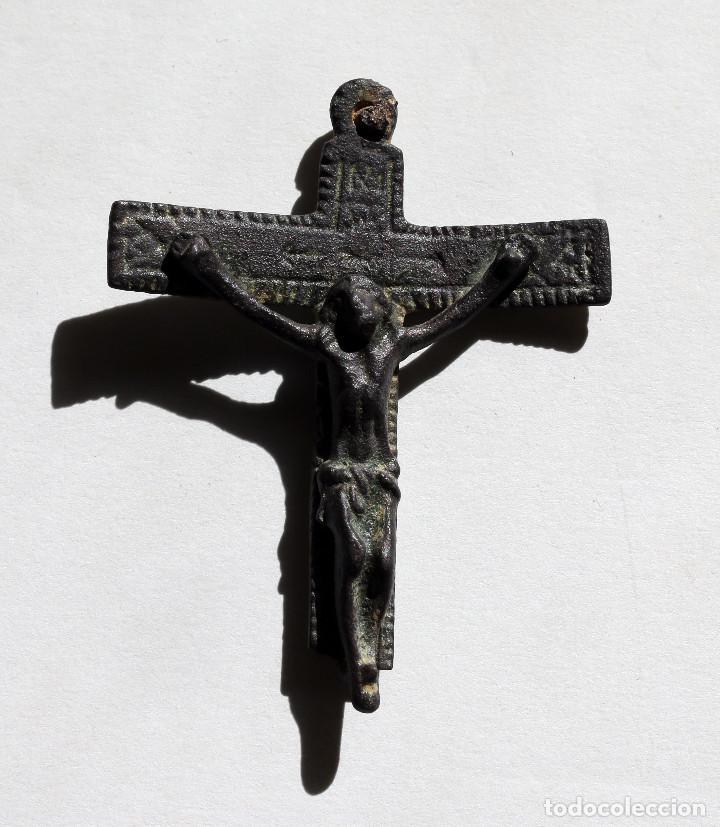 ANTIGUA CRUZ BIFAZ INMACULADA Y CRUCIFICADO S.XVI (Antigüedades - Religiosas - Crucifijos Antiguos)