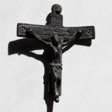 Antigüedades: ANTIGUA CRUZ BIFAZ INMACULADA Y CRUCIFICADO S.XVI. Lote 106640331