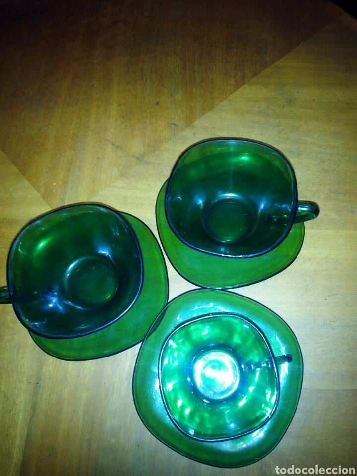 Antigüedades: 2 tazas, 1 pocillo y 3 platos Duralex verde - Foto 2 - 106641790
