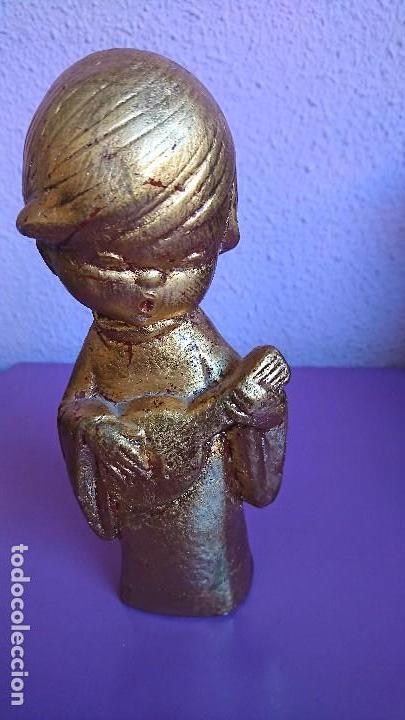 FIGURA ESTUCO POLICROMADO EN PAN DE ORO (Antigüedades - Hogar y Decoración - Figuras Antiguas)