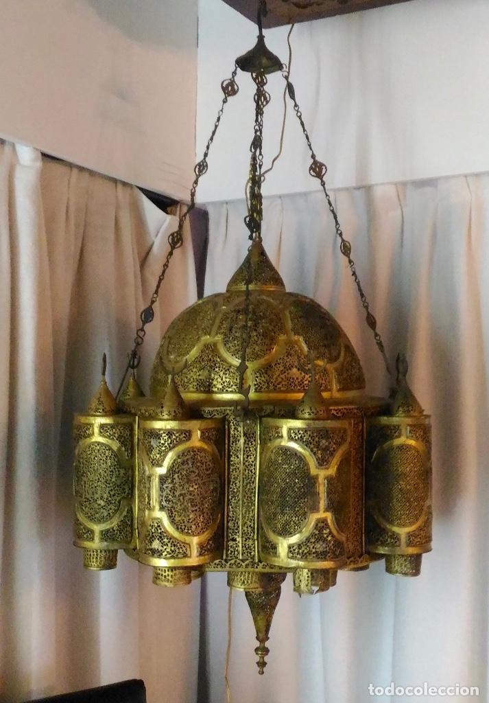 LAMPARA ORIENTAL 0.80*0.80 RESTAURADA Y CON INSTALACIÓN ELECTRICA (Antigüedades - Iluminación - Lámparas Antiguas)