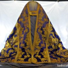 Antigüedades: T2 ESPECTACULAR CAPA PLUVIAL S XVIII EN SEDA, TERCIOPELO E HILOS DE ORO. Lote 106769527