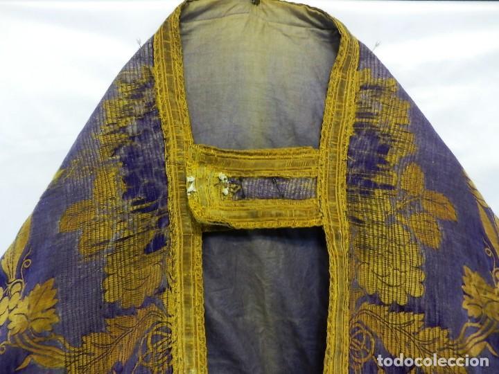 Antigüedades: t2 Espectacular capa pluvial s XVIII en seda, terciopelo e hilos de oro - Foto 8 - 106769527