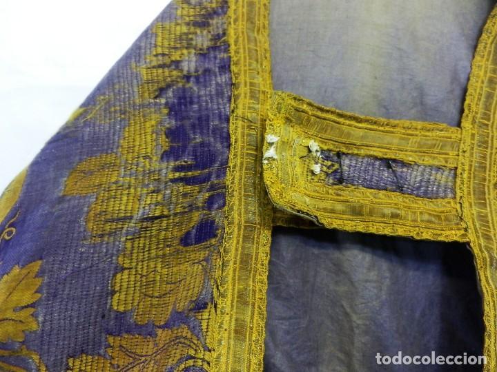 Antigüedades: t2 Espectacular capa pluvial s XVIII en seda, terciopelo e hilos de oro - Foto 10 - 106769527