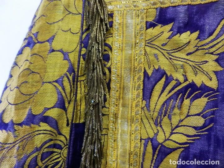 Antigüedades: t2 Espectacular capa pluvial s XVIII en seda, terciopelo e hilos de oro - Foto 13 - 106769527