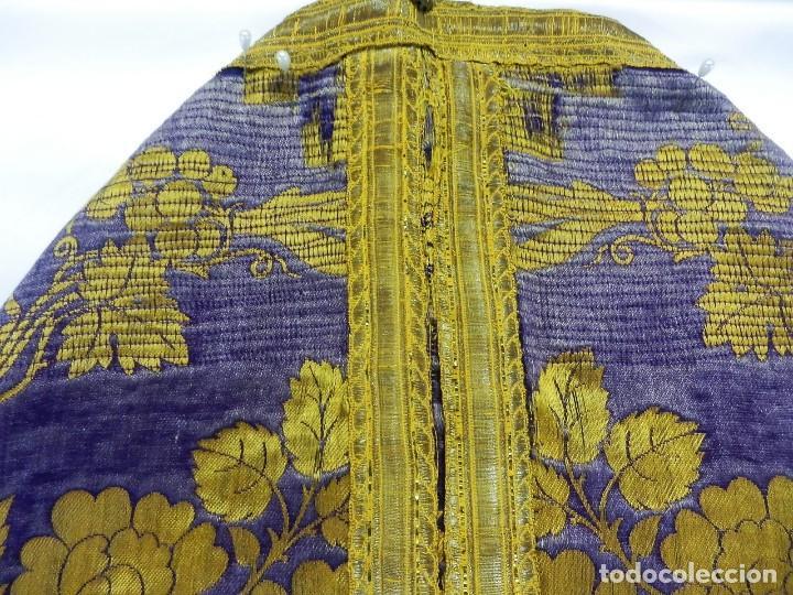 Antigüedades: t2 Espectacular capa pluvial s XVIII en seda, terciopelo e hilos de oro - Foto 14 - 106769527