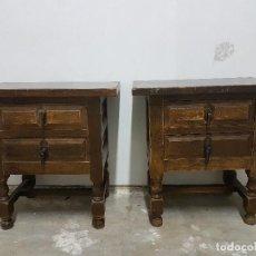 Antigüedades: FANTASTICOS VELADORES ANTIGUOS DE MADERA MACIZA ESTILO RUSTICO VINTAGE COUNTRY ORIGINAL AÑOS 40. Lote 106775931