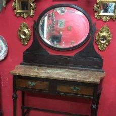 Antigüedades: PRECIOSO MUEBLE TOCADOR DE PRINCIPIO SIGLO XX EN MADERA Y TAPA DE MARMOL - MEDIDA 100X155 CM DE ALTO. Lote 106788991