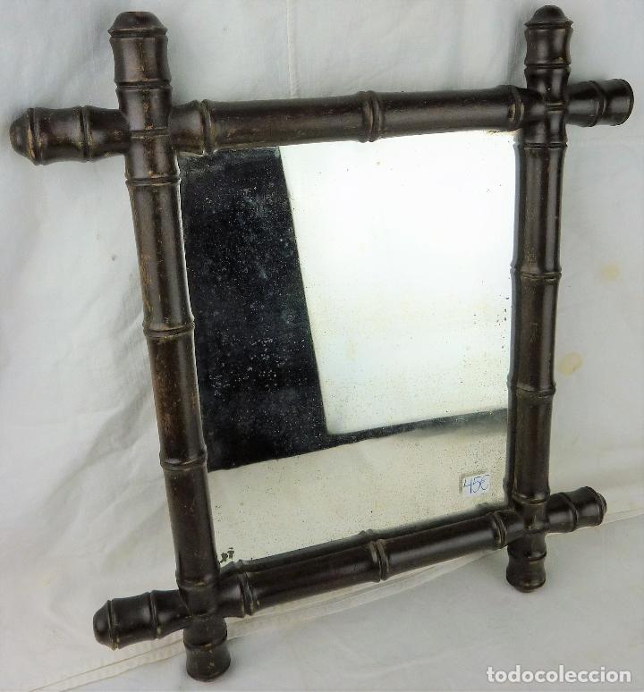 Antigüedades: Antiguo espejo de madera imitando a caña - principios siglo XX - Foto 2 - 106905063