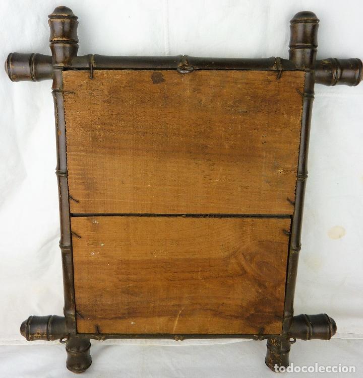 Antigüedades: Antiguo espejo de madera imitando a caña - principios siglo XX - Foto 5 - 106905063