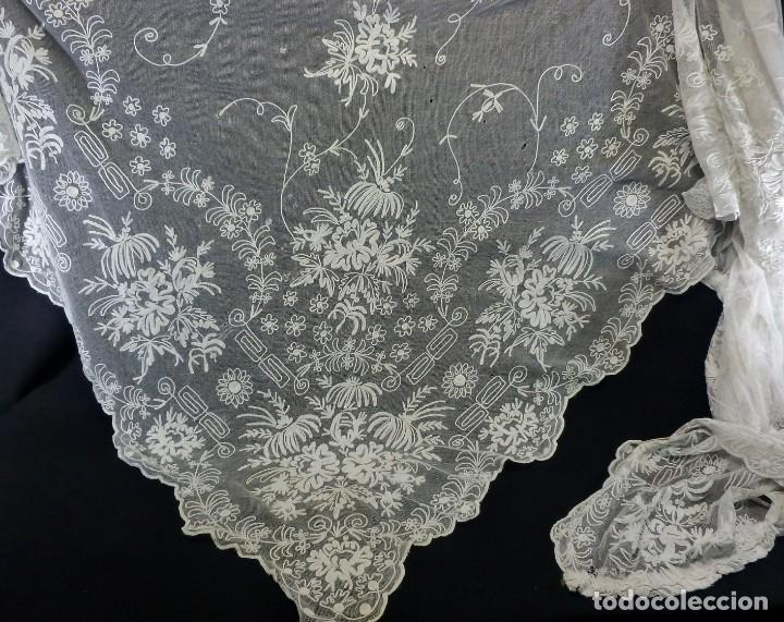 Antigüedades: t1b Oportunidad única gran cortina Bobine cadeneta manteleta s XIX bordada a mano 280x130 cm!!! - Foto 2 - 114867515