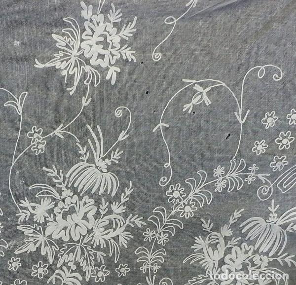 Antigüedades: t1b Oportunidad única gran cortina Bobine cadeneta manteleta s XIX bordada a mano 280x130 cm!!! - Foto 4 - 114867515