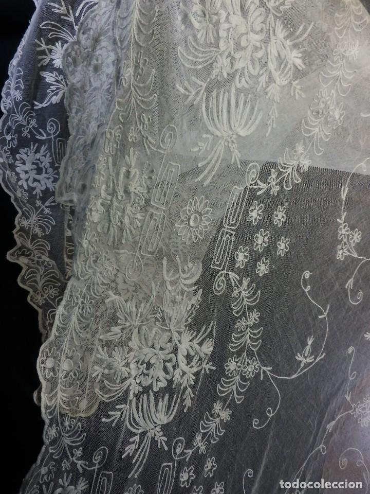 Antigüedades: t1b Oportunidad única gran cortina Bobine cadeneta manteleta s XIX bordada a mano 280x130 cm!!! - Foto 8 - 114867515