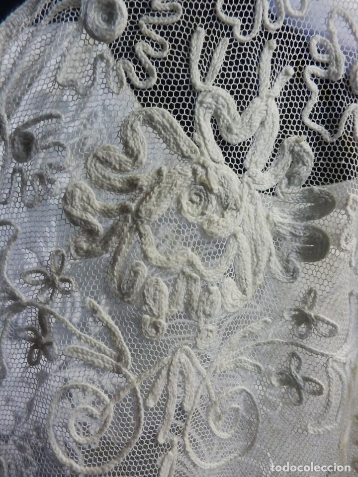 Antigüedades: t1b Oportunidad única gran cortina Bobine cadeneta manteleta s XIX bordada a mano 280x130 cm!!! - Foto 9 - 114867515