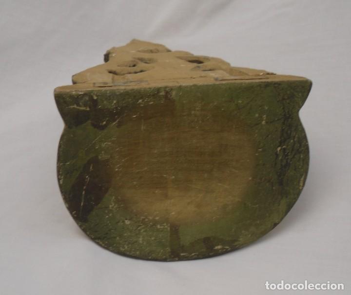Antigüedades: pequeña ménsula de madera tallada y dorada - Foto 3 - 106944275