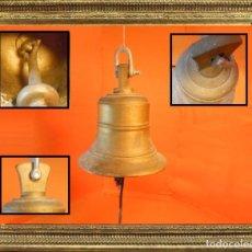 Antigüedades: ESPECTACULAR CAMPANA DE CAPILLA, ANDEN DE TREN O BARCO DE 17,5 CM. X 16,5 CM ORIGINAL. Lote 106968567