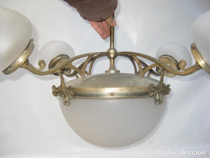 Antigüedades: GRAN LAMPARA 100X80CM DECÓ ORIGINAL ART NOUVEAU FRANCIA CIRCA 1900 METAL Y TULIPAS CRISTAL - Foto 5 - 106978163