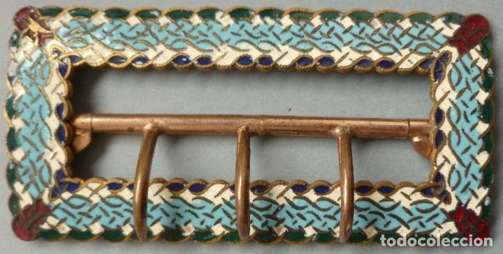 Antigüedades: ANTIGUA HEBILLA ART DECO - ESMALTE CLOISONNÉ PPIO.S.XX - Foto 3 - 107015375