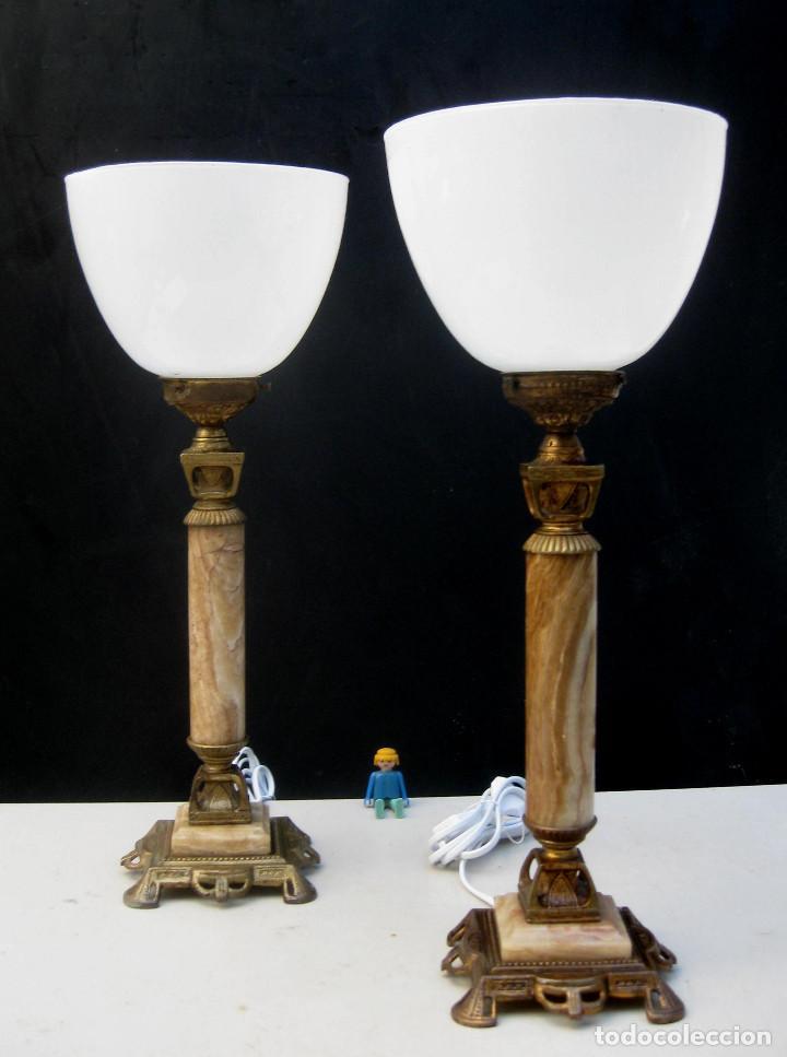 ELEGANTISIMA PAREJA DE LAMPARAS ANTIGUAS EN BRONCE MARMOL Y OPALINA ART DECO (Antigüedades - Iluminación - Lámparas Antiguas)