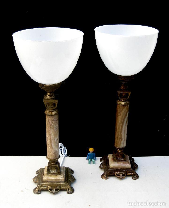 Antigüedades: ELEGANTISIMA PAREJA DE LAMPARAS ANTIGUAS EN BRONCE MARMOL Y OPALINA ART DECO - Foto 2 - 107040231