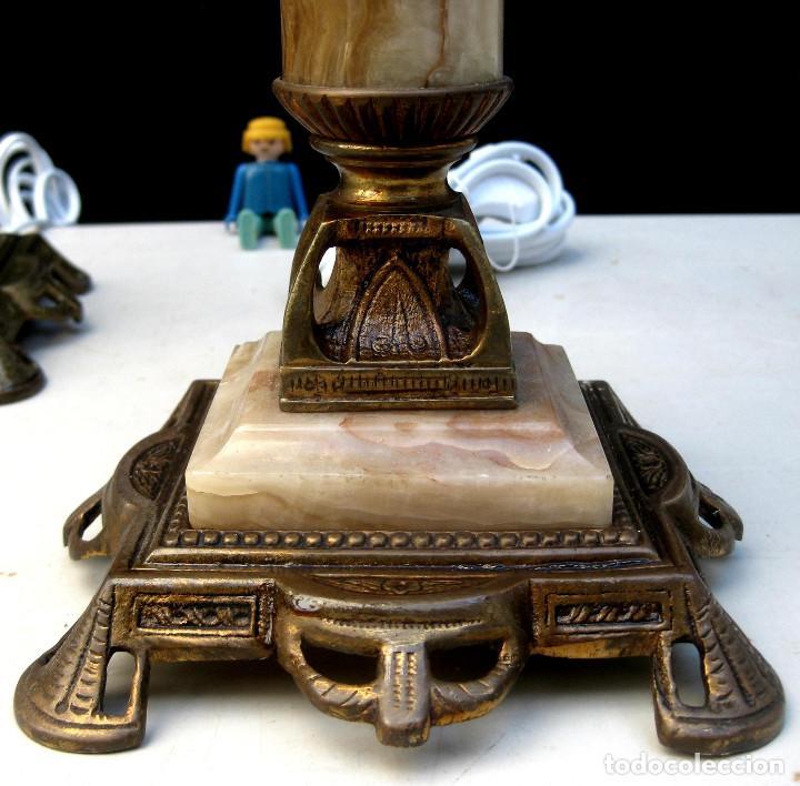 Antigüedades: ELEGANTISIMA PAREJA DE LAMPARAS ANTIGUAS EN BRONCE MARMOL Y OPALINA ART DECO - Foto 3 - 107040231