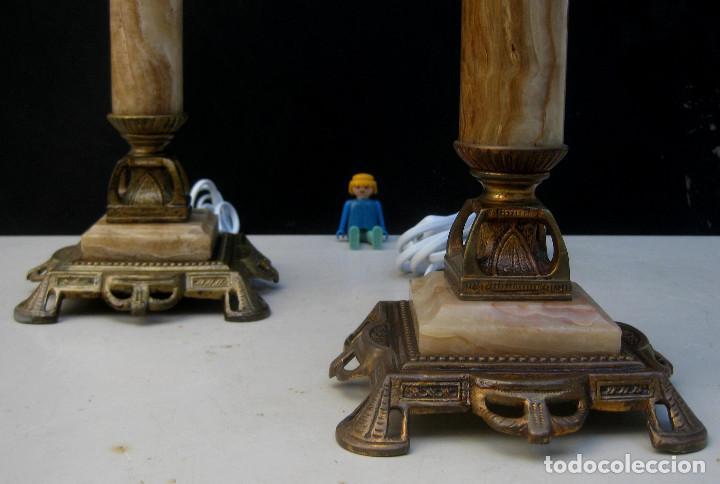 Antigüedades: ELEGANTISIMA PAREJA DE LAMPARAS ANTIGUAS EN BRONCE MARMOL Y OPALINA ART DECO - Foto 4 - 107040231
