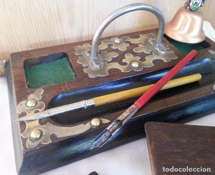 Antigüedades: Escribanía en madera. Años 60. Conjunto de escribanía con complementos. - Foto 3 - 107067395