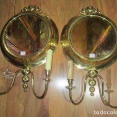 Antigüedades: 2 APLIQUES DE PARED, EN METAL DORADO. 30 CMS. DE DIÁMETRO X 50 CMS. LARGO.MARCA PIVAMAR BARCELONA. Lote 107082363